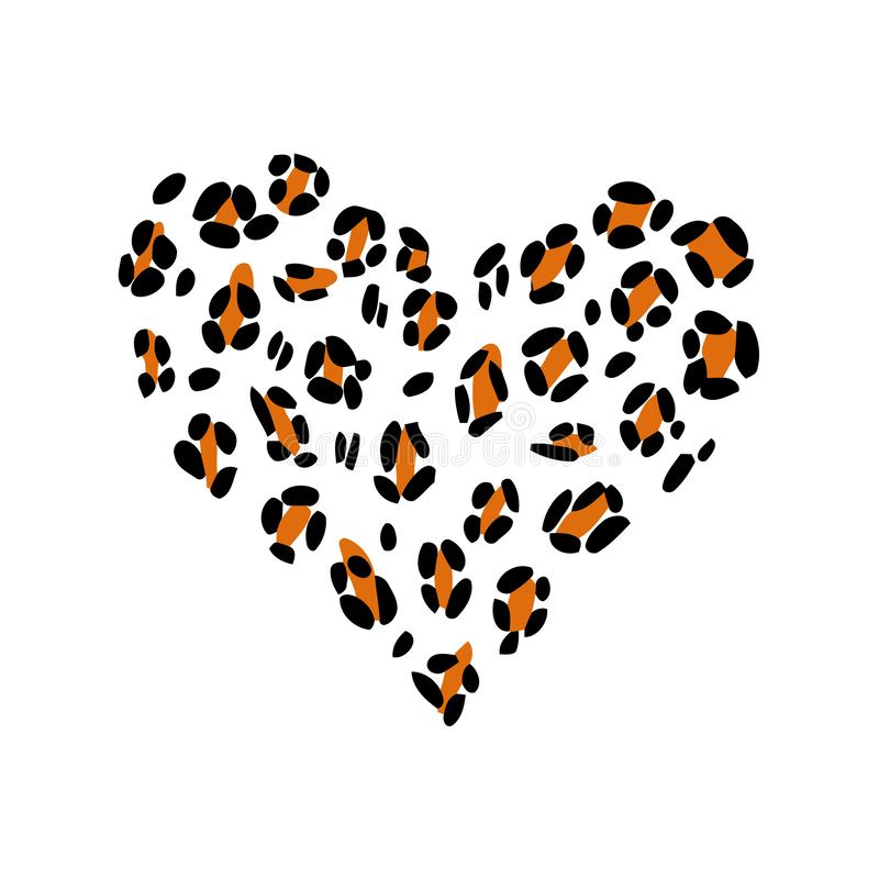 Leopard print skin in the shape of a heart. royalty free illustration