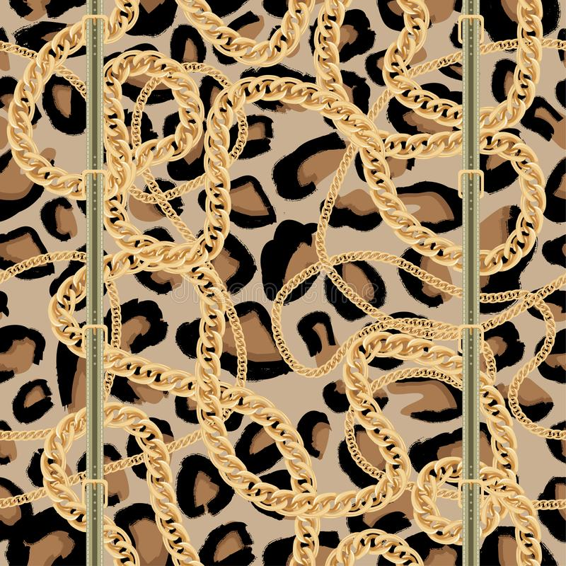 Leopard Seamless Pattern with Golden Chain and Belt with Buckle royalty free illustration