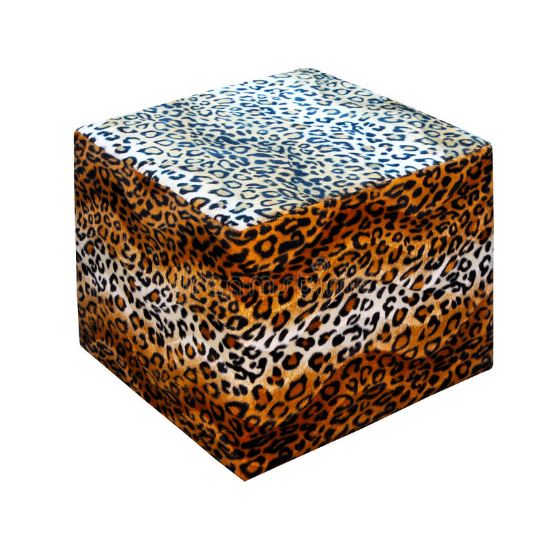 Leopard stool. Leopard print stool isolated included clipping path royalty free stock photo