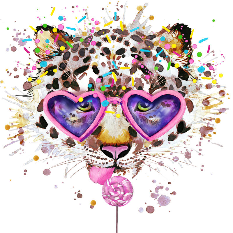 Download Leopard T-shirt Graphics. Leopard Illustration With Splash Watercolor Textured  Background. Unusual Illustration Watercolor Leopar Stock Illustration - Illustration of pencil, holiday: 56343293
