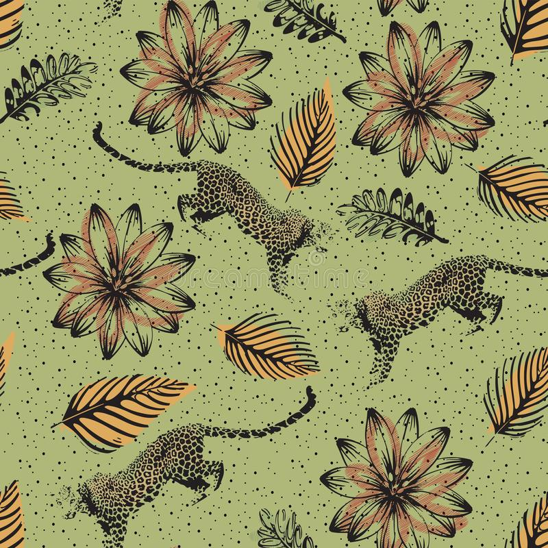 Leopard and tropical floral design in jungle wildlife seamless pattern 向量例证