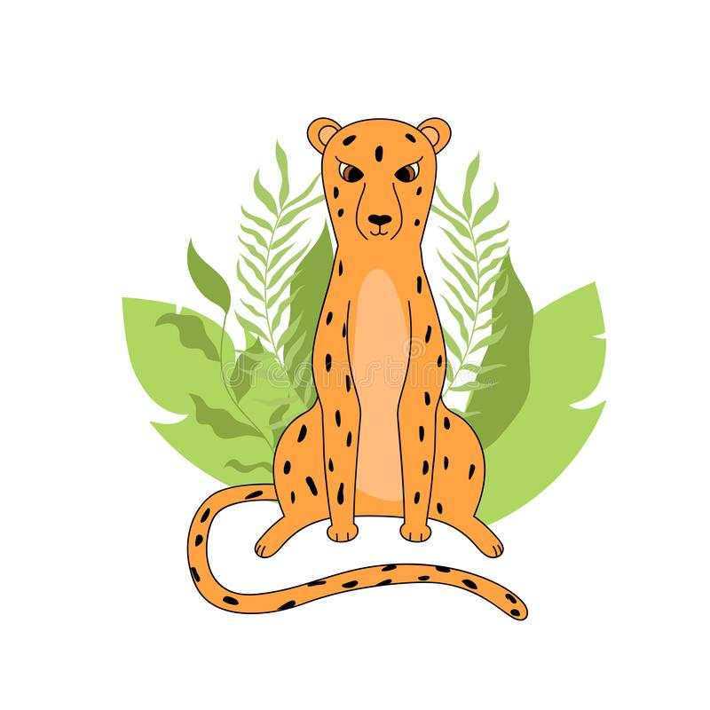 Leopard and tropical leaves. Handdraw vector illustretion for print royalty free illustration