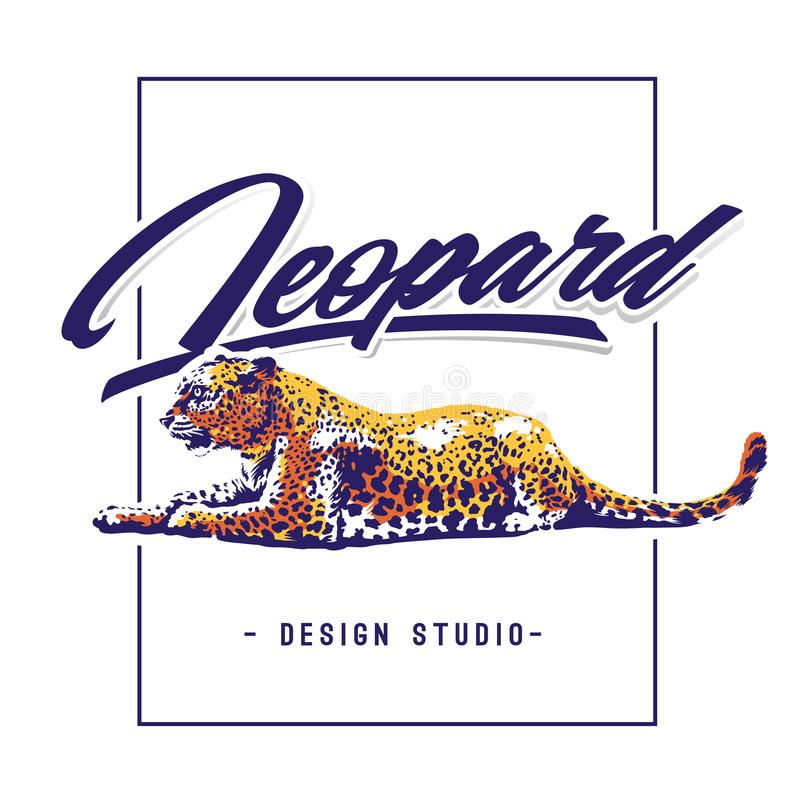Leopard Vector Design Template. Leopard lying on white with calligraphic typography. Vector design template stock illustration