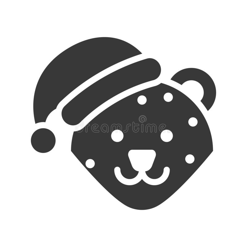 Leopard wearing santa hat silhouette icon design. Leopard zoo animal wearing santa hat silhouette icon design vector illustration