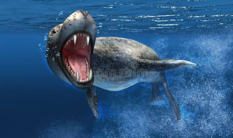 Leoparddichtung unter Wasser mit Abschluss oben auf Kopf und offenem Mund. vektor abbildung