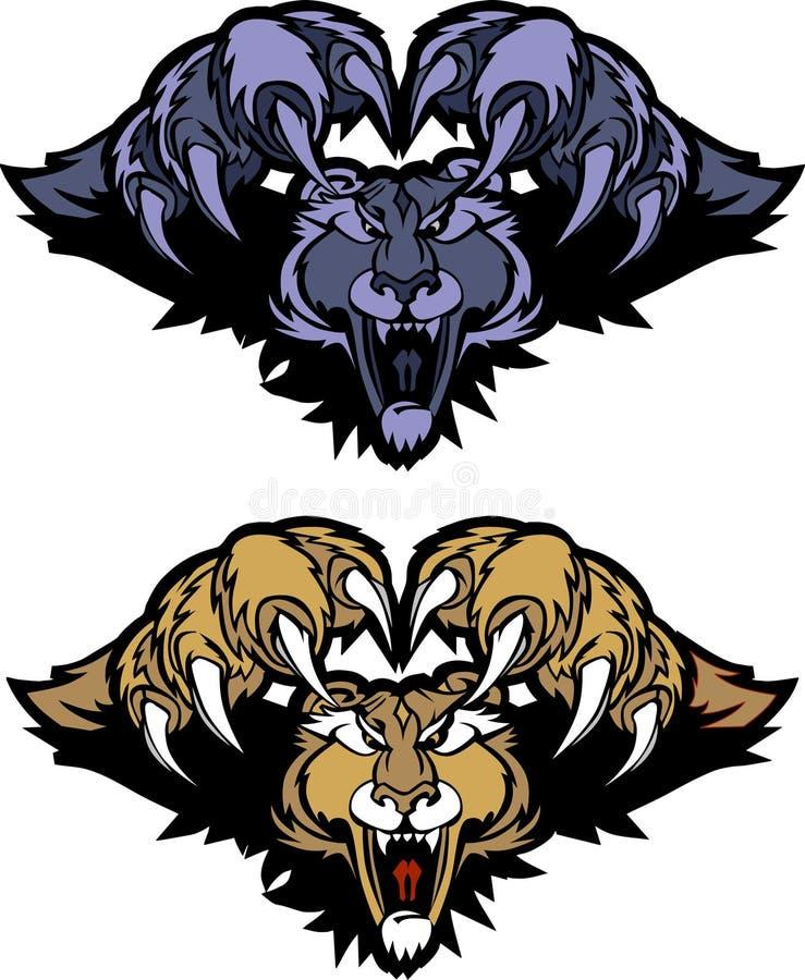Leoparden-Puma-Maskottchen-stürzenvektorzeichen stock abbildung