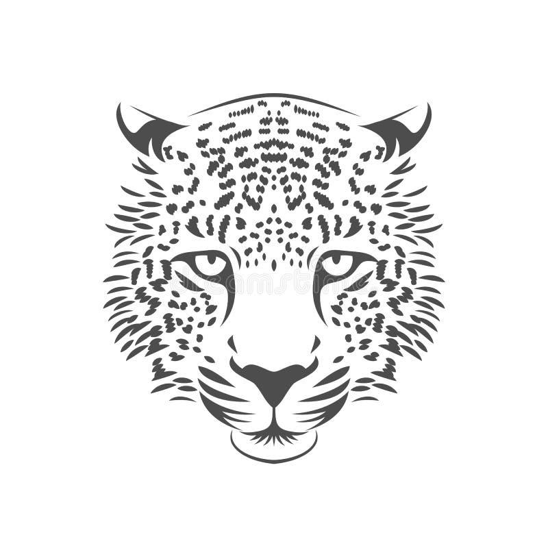 Leopardhauptillustration Eine Farbe lizenzfreie abbildung