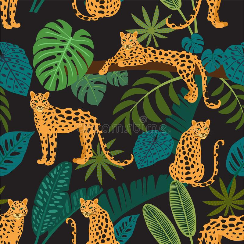Leopardmuster mit tropischen Blättern Vektornahtlose Beschaffenheit stock abbildung