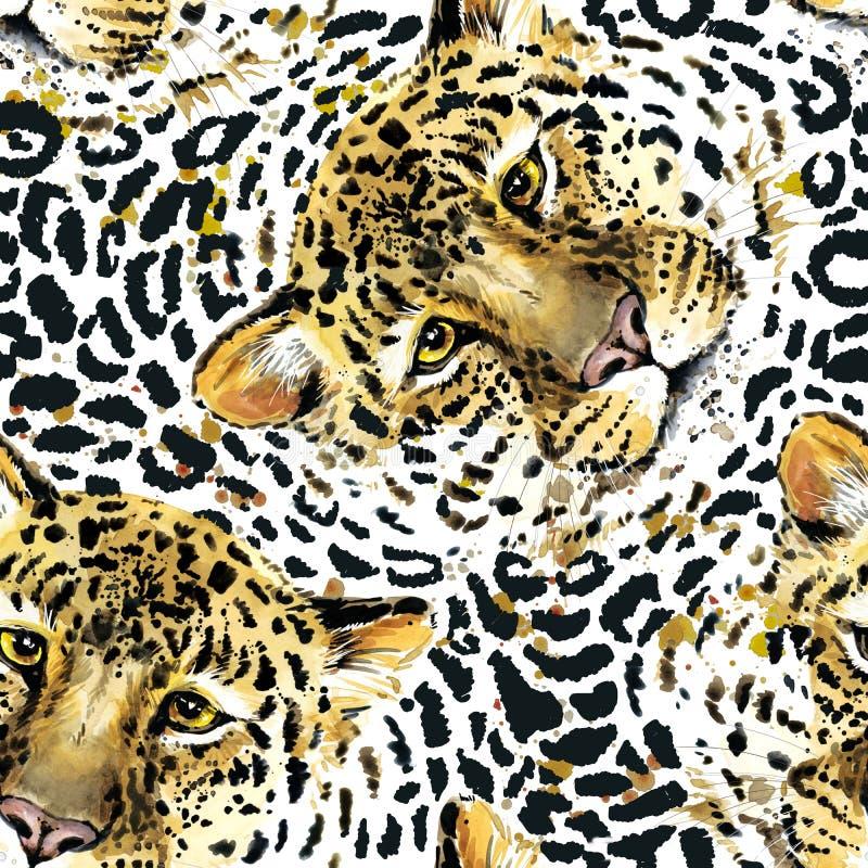 Leopardmusterentwurf, Aquarelljaguarillustration wilder nahtloser Hintergrund der Tierhaut vektor abbildung