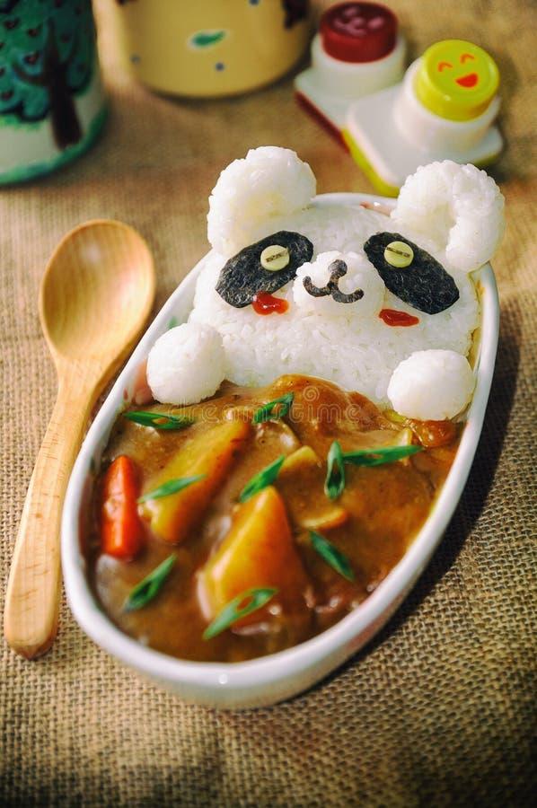Leopardo Cat Onigiri alimento bonito/bonito japonês do caril imagem de stock royalty free