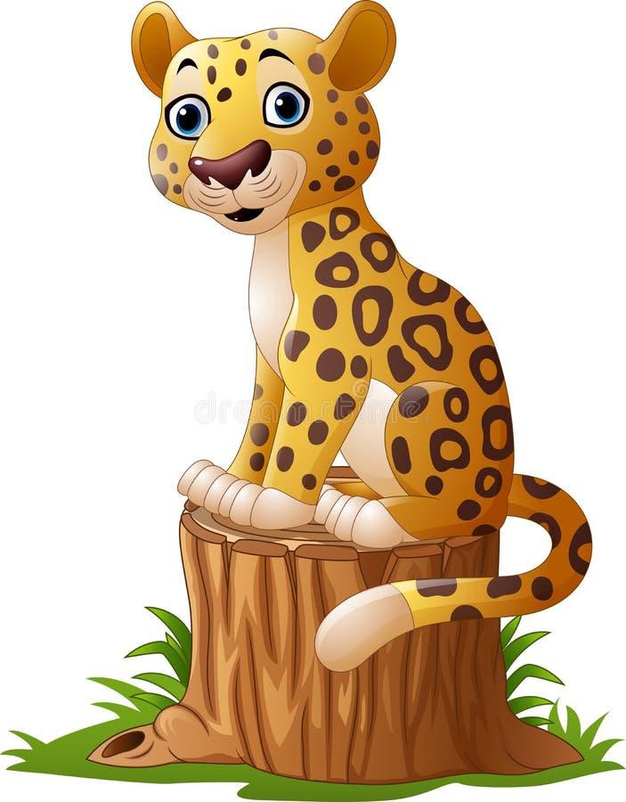Leopardo de la historieta que se sienta en tocón de árbol stock de ilustración