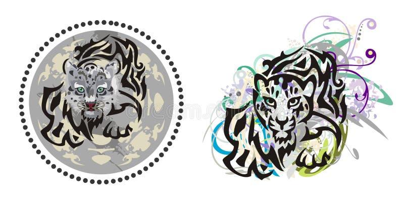 Leopardo de los jóvenes del Grunge ilustración del vector