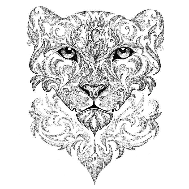 Leopardo de neve da tatuagem, pantera, gato, com testes padrões e ornamento ilustração royalty free