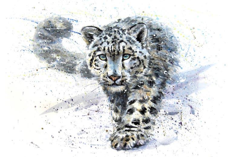 Leopardo de nieve stock de ilustración