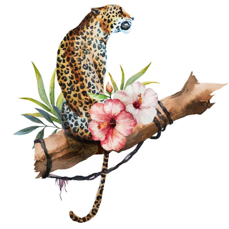 Leopardo del vector de la acuarela stock de ilustración
