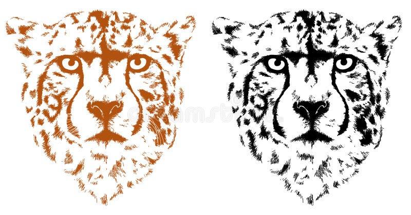 Leopardo en la interpretación negra stock de ilustración