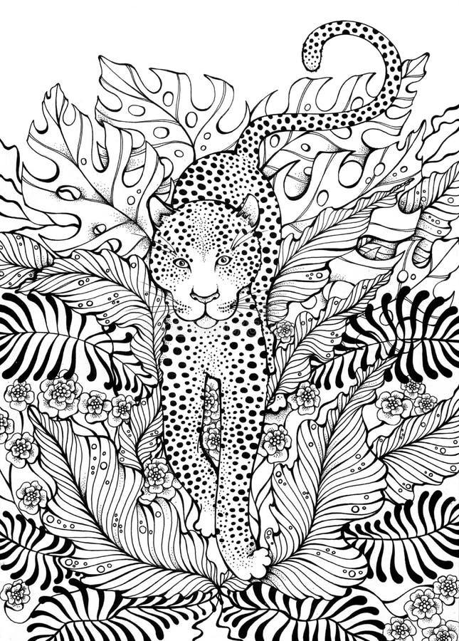 Leopardo na selva ilustração do vetor