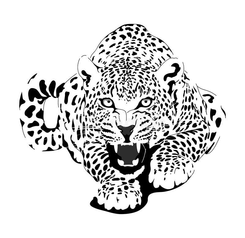 Leopardo nell'interpretazione nera illustrazione vettoriale