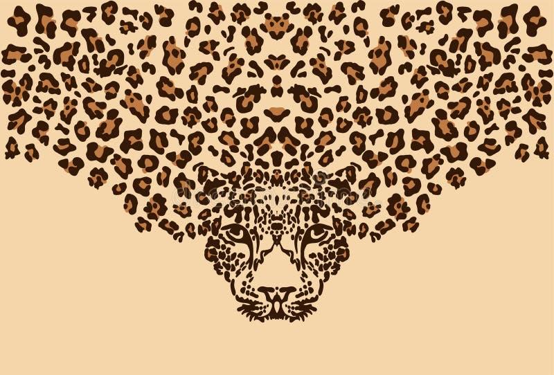 Leopardo no fundo bege Teste padr?o do vetor ilustração royalty free