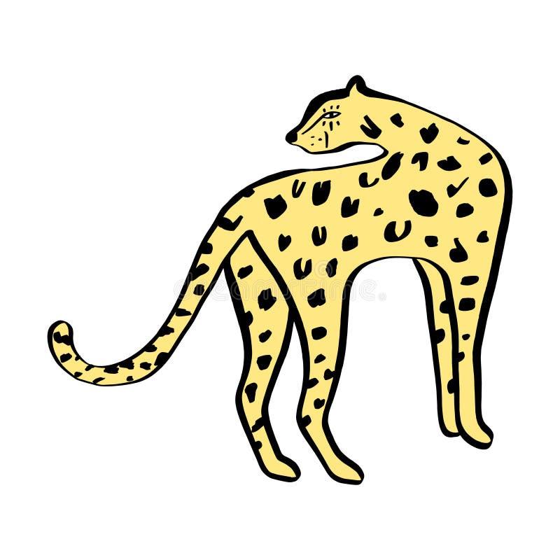 Leopardo salvaje divertido del gato Los niños lindos imprimen para la camiseta Ilustraci?n del vector ilustración del vector