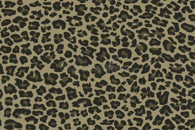 Leopardo sem emenda do teste padrão da camuflagem Textura verde caqui, ilustração do vetor ilustração royalty free
