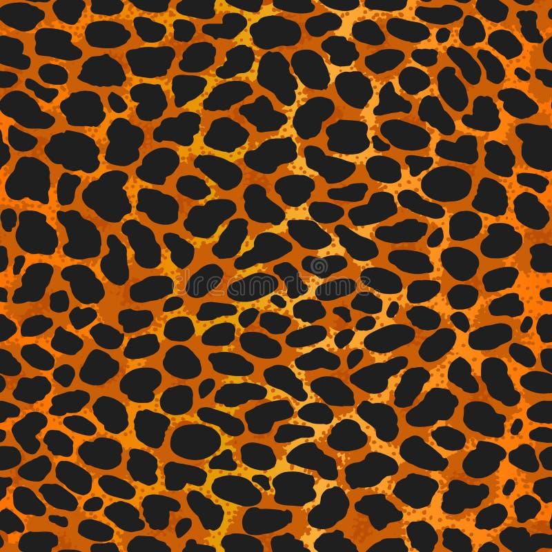 Leopardo sem emenda, ocelote ou cópia selvagem do teste padrão da pele do gato ilustração royalty free