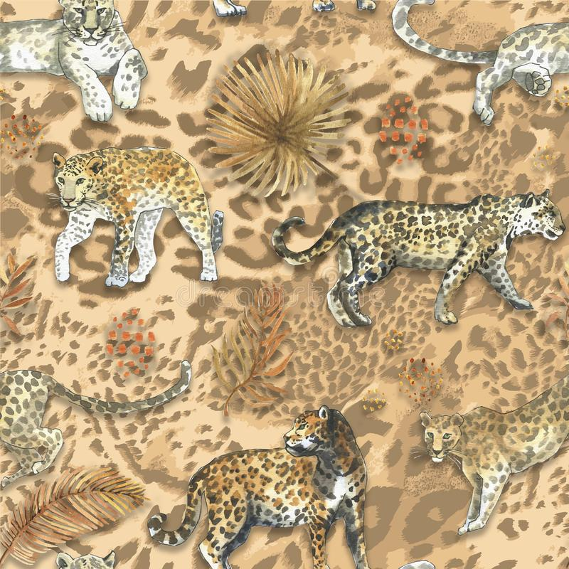 Leopardo, teste padrão sem emenda do animal do gato do jaguar com as folhas douradas tropicais fotografia de stock