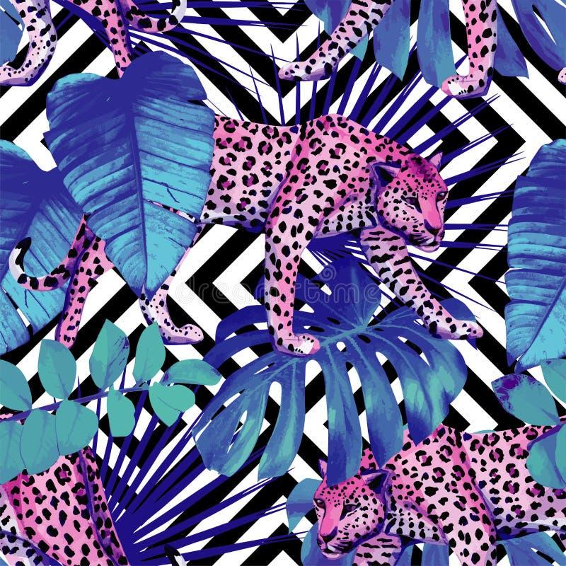 Leopardo y plantas tropicales, negro geométrico libre illustration