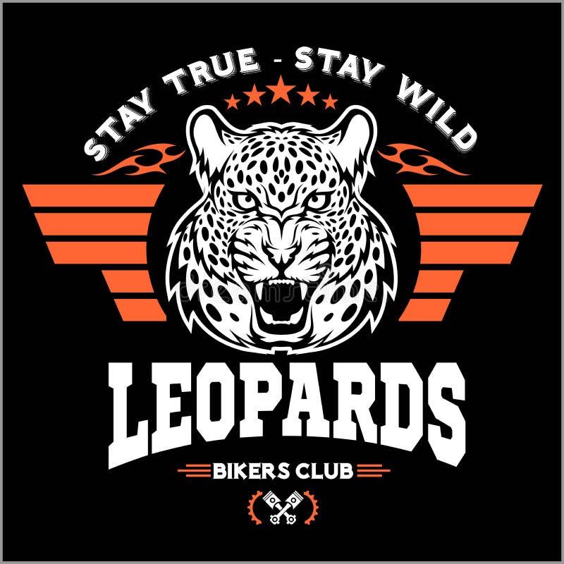 Leopardos - o costume viaja de automóvel o logotipo do vetor do t-shirt do clube no fundo escuro T-shirt superior do logotype da  ilustração do vetor
