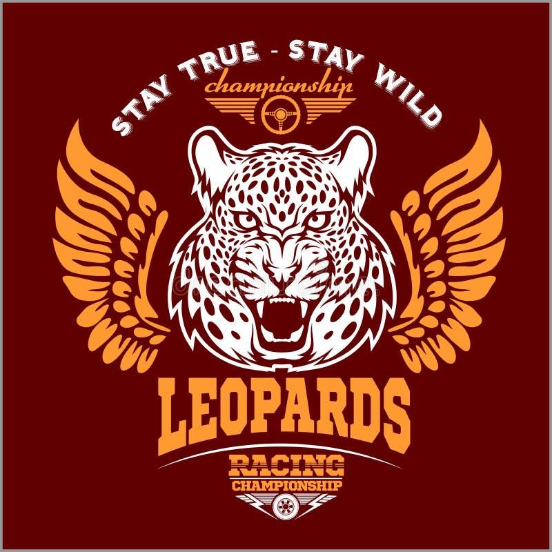 Leopardos - o costume viaja de automóvel o logotipo do vetor do t-shirt do clube no fundo escuro T-shirt superior do logotype da  ilustração royalty free