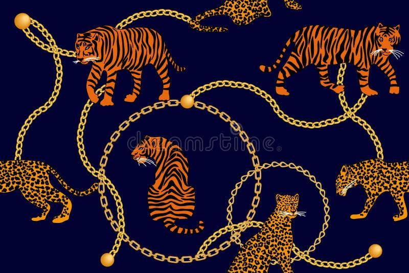 Leopardos, tigre e correntes douradas ilustração do vetor