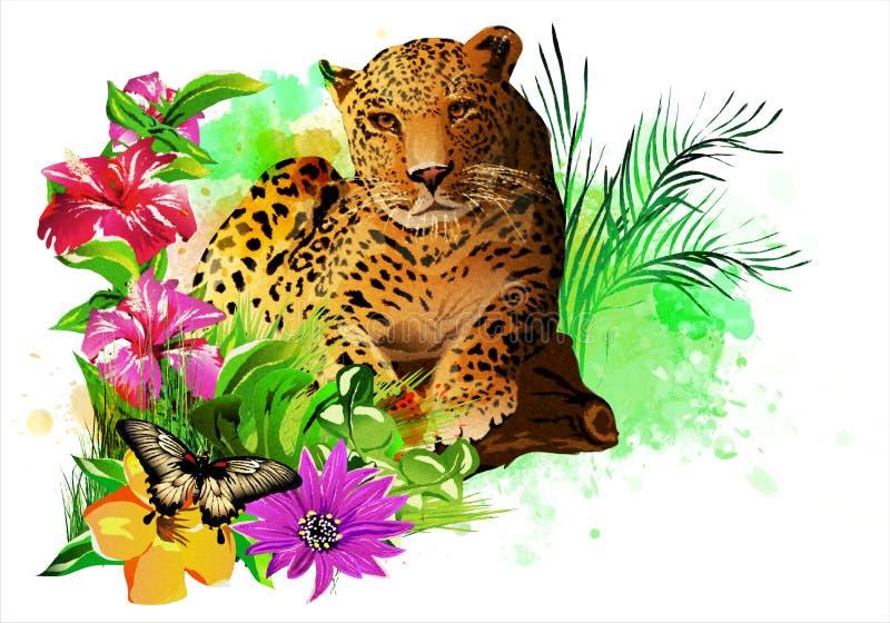 Leopardos y butterflie en un arco iris de los descensos de la pintura stock de ilustración