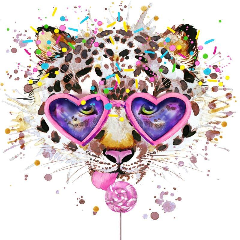 LeopardT-tröjadiagram Leopardillustration med texturerad bakgrund för färgstänk vattenfärg ovanlig leopar illustrationvattenfärg vektor illustrationer