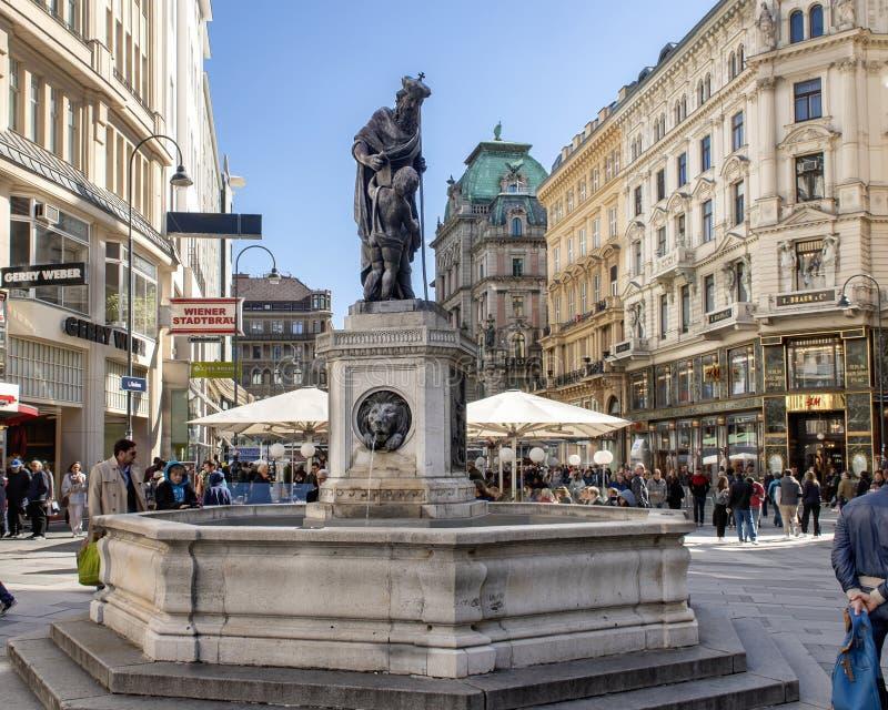 Leopold fontanna Johann Fruhwirth, Wiede?, Austria zdjęcie stock