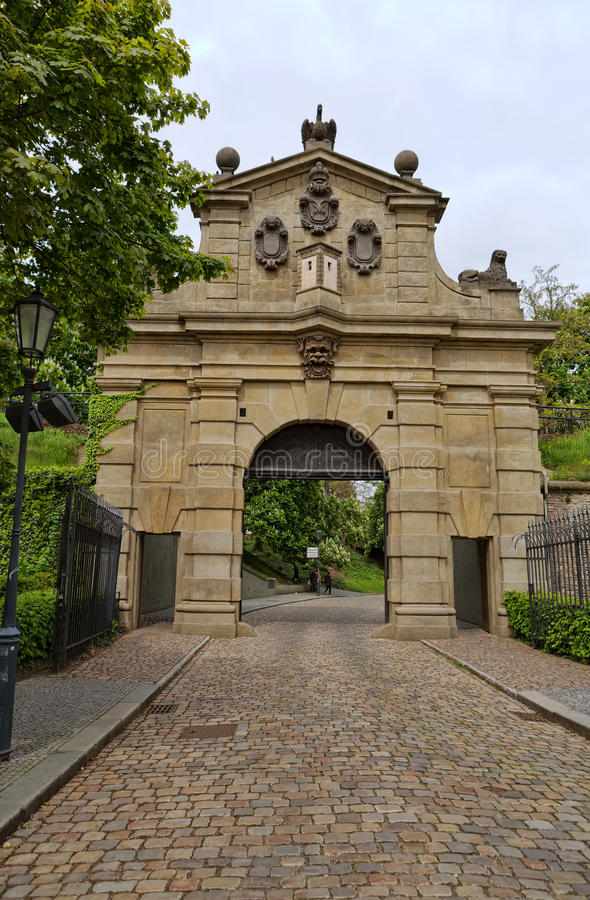 Leopold Gate, the entrance to the fortress Vysehrad, built between 1653-1672 in Prague royalty free stock photo