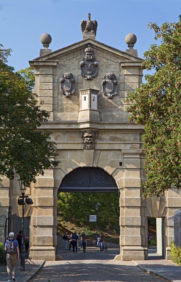 Leopold Gate in Vysehrad, Praag royalty-vrije stock fotografie