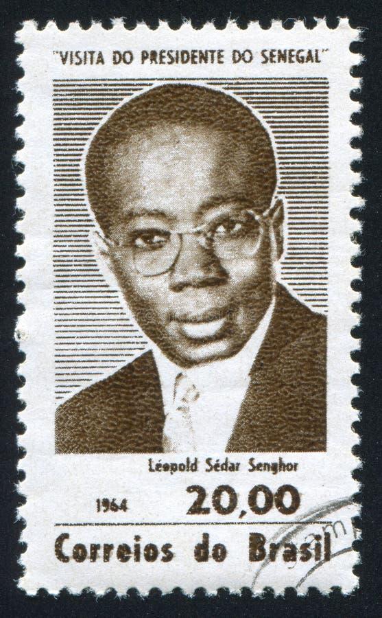 Leopold Sedar Senghor President van Senegal stock afbeelding