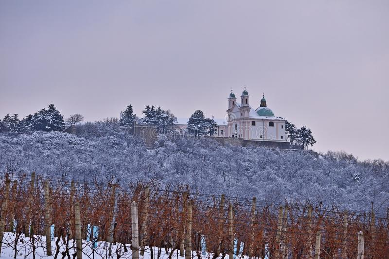 Leopoldsberg предусматривало в снеге стоковая фотография rf