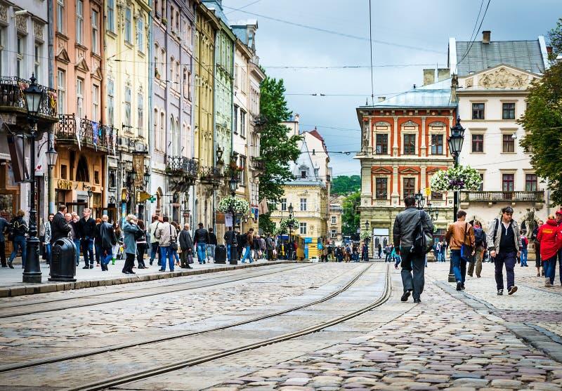 Leopoli - il centro storico dell'Ucraina immagini stock libere da diritti