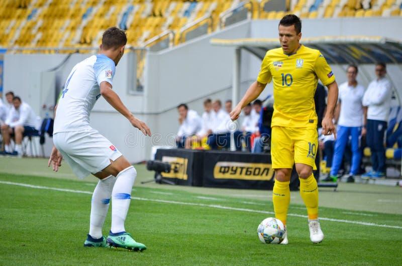 Leopoli, Ucraina - 10 agosto 2018: Lubomir Satka (l) contro Yevh immagine stock libera da diritti