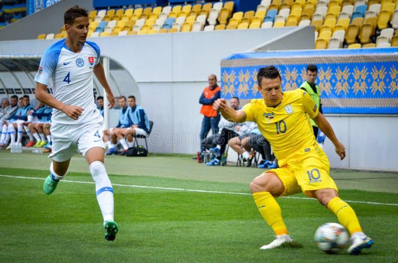 Leopoli, Ucraina - 10 agosto 2018: Lubomir Satka (l) contro Yevh fotografie stock