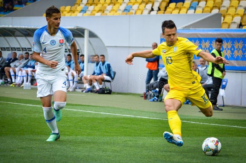 Leopoli, Ucraina - 10 agosto 2018: Lubomir Satka (l) contro Yevh fotografie stock libere da diritti