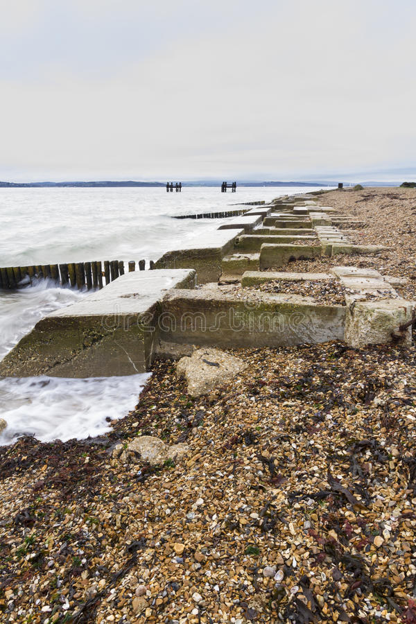 Lepe παραλία – σημείο εκτόξευσης για WWII τα λιμάνια μουριών. στοκ εικόνα