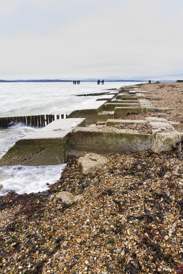 Lepe strand – lanseringsplats för WWII-mullbärsträdhamnar. fotografering för bildbyråer