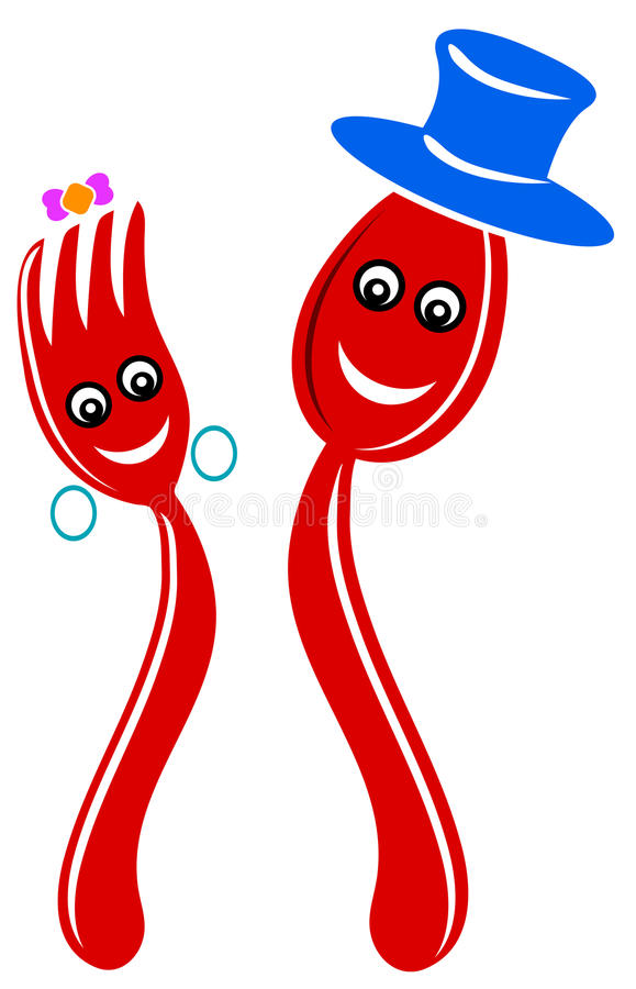 Lepel en vork vector illustratie