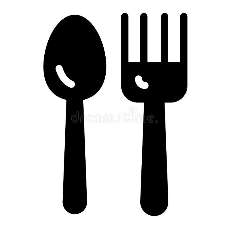 Lepel en vork stevig pictogram Tafelzilver vectordieillustratie op wit wordt geïsoleerd Het ontwerp van de werktuig glyph stijl,  royalty-vrije illustratie