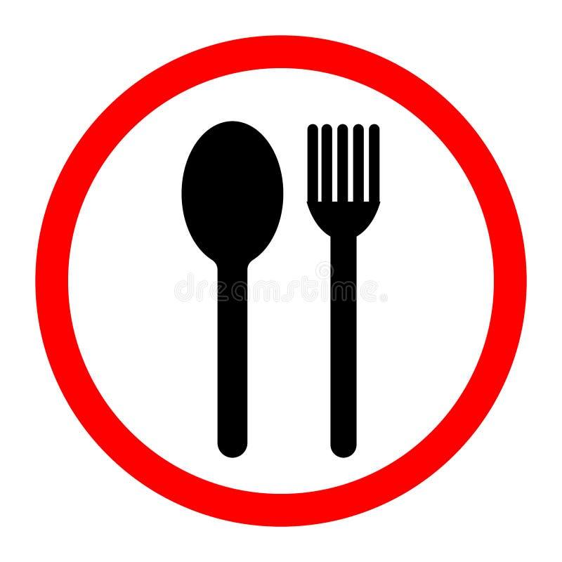 Lepel en vorkpictogram Vector illustratie Voedsel, het dineren die, bar, koffie, hotel, concept eten Teken op witte achtergrond w royalty-vrije illustratie
