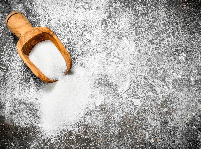 Lepel met suiker stock fotografie