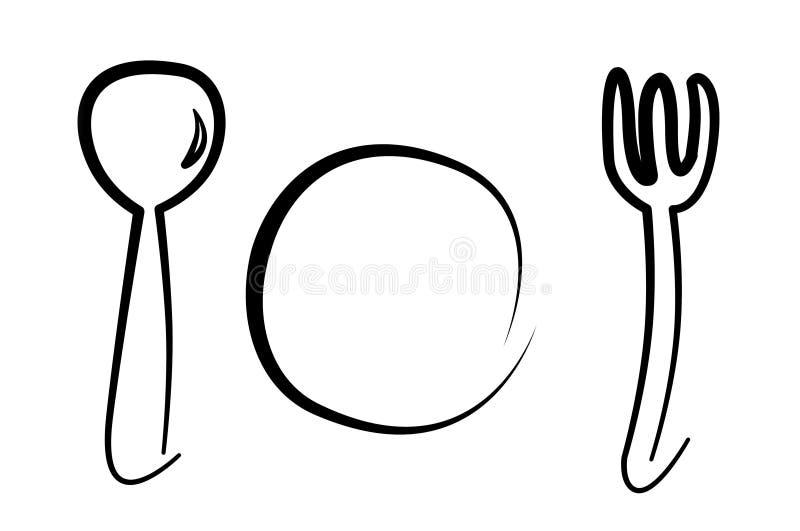 Lepel, plaat en vork stock illustratie