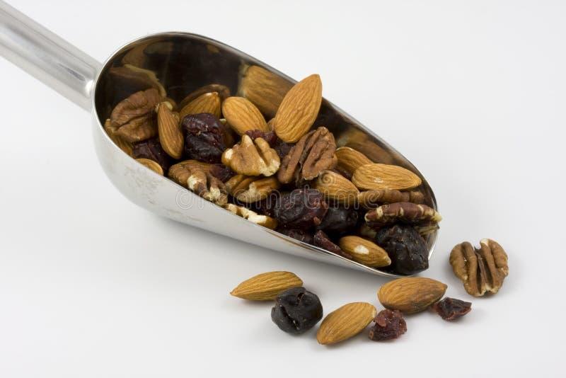 Lepel van sleepmengeling met noten en bessen royalty-vrije stock afbeeldingen
